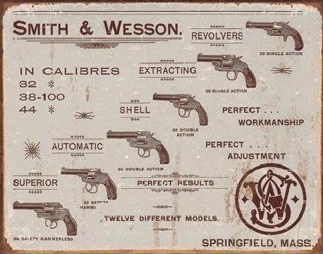 Plechová cedule S&W - revolvers, (40 x 31.5 cm)