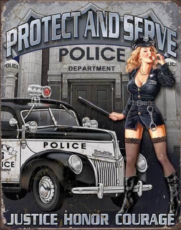 Plechová cedule POLICE DEPT - protect & serve, (32 x 41 cm)
