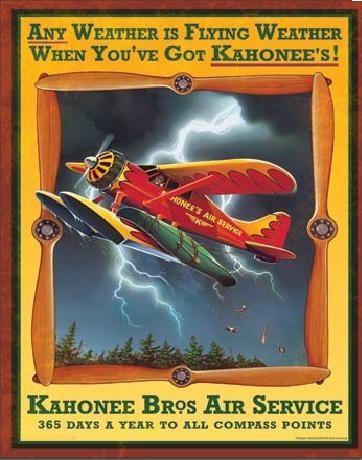 Plechová cedule KAHONEE AIR SERVICE, (30 x 41 cm)