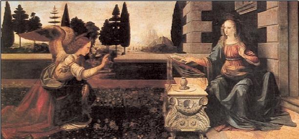 Obraz, Reprodukce - Zvěstování Panny Marie, Leonardo Da Vinci, (100 x 50 cm)