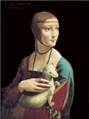 Obraz, Reprodukce - Dáma s hranostajem, Leonardo Da Vinci, (24 x 30 cm)