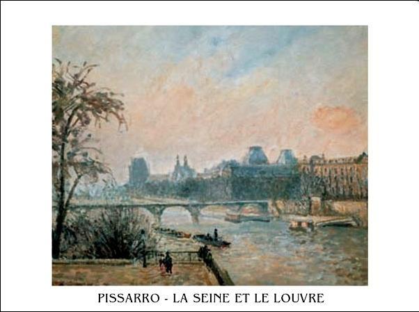 Obraz, Reprodukce - La Seine et le Louvre - Seina a Louvre, Paříž, 1903, Camille Pissarro, (70 x 50 cm)