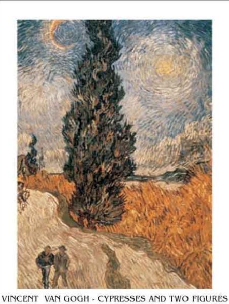 Obraz, Reprodukce - Cesta s cypřišem a hvězdou - Venkovská cesta v Provence za noci, 1890, Vincent van Gogh, (50 x 70 cm)