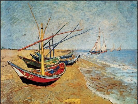 Obraz, Reprodukce - Rybářské lodě na pláži v Saintes-Maries-de-la-Mer, 1888, Vincent van Gogh, (30 x 24 cm)