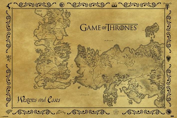 Plakát, Obraz - Hra o Trůny (Game of Thrones) - mapa starý styl, (91,5 x 61 cm)