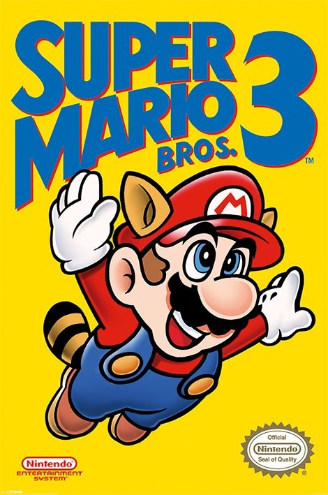 Plakát, Obraz - Super Mario Bros. 3 - NES Cover, (61 x 91,5 cm)