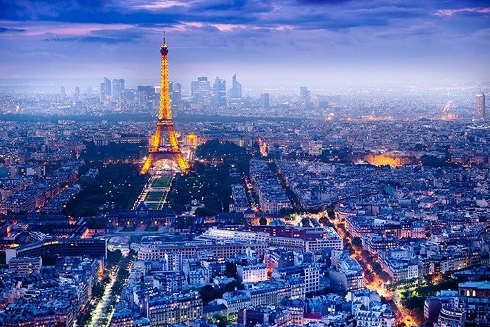 Plakát, Obraz - Paříž - Pohled na Paříž, (91,5 x 61 cm)