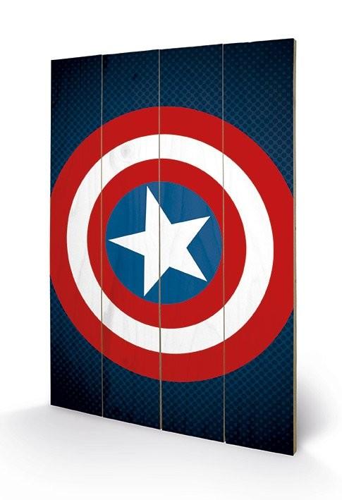 Obraz na dřevě - Avengers Assemble - Captain America Shield, (40 x 59 cm)