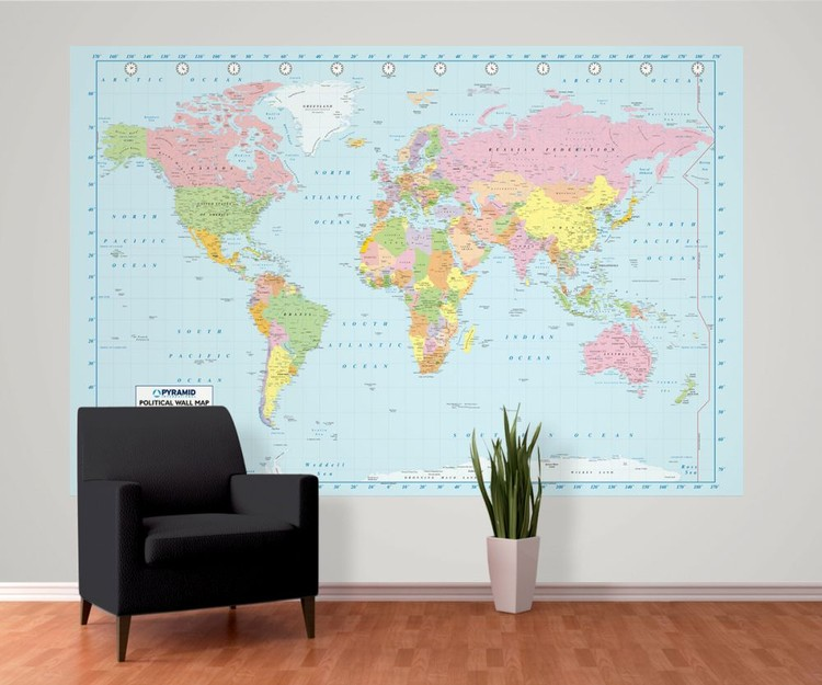 carte politique du monde poster mural papier peint acheter le sur. Black Bedroom Furniture Sets. Home Design Ideas