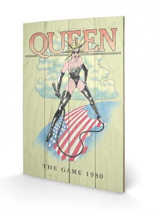 Dřevěný obraz Queen - The Game 1980, (40 x 59 cm)