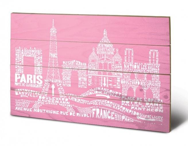 Dřevěný obraz Paříž - Citography, (59 x 40 cm)