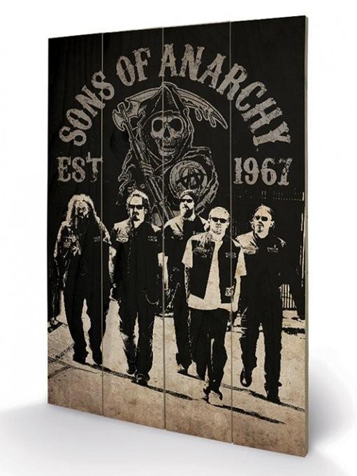 Dřevěný obraz Sons of Anarchy (Zákon gangu) - Reaper Crew, (40 x 59 cm)