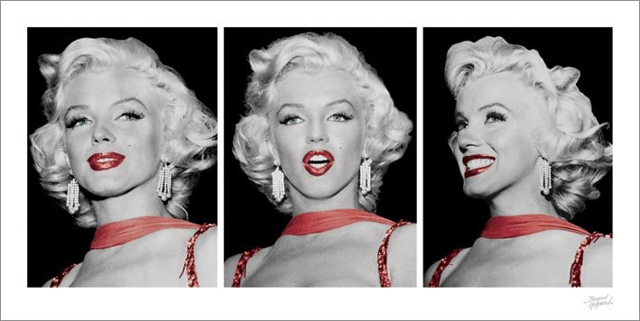 Obraz, Reprodukce - Marilyn Monroe - Red Dress Triptych, (100 x 50 cm)
