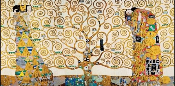 Obraz, Reprodukce - Strom života, Naplnění (Objetí), Čekání - vlys z paláce Stoclet, 1909, Gustav Klimt, (140 x 70 cm)