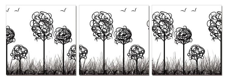 Obraz na zeď - Moderní design - stromy s ptáky, (180 x 60 cm)
