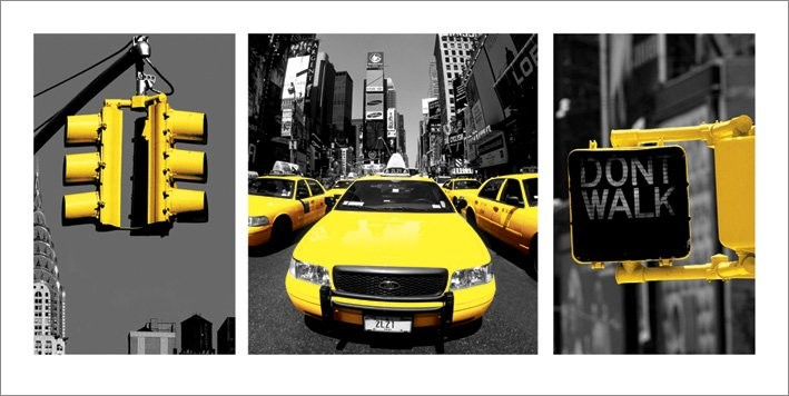 Obraz, Reprodukce - New York - Yellow, (100 x 50 cm)