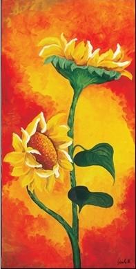 Obraz, Reprodukce - Dvě slunečnice, Maria Teresa Gianola, (25 x 50 cm)