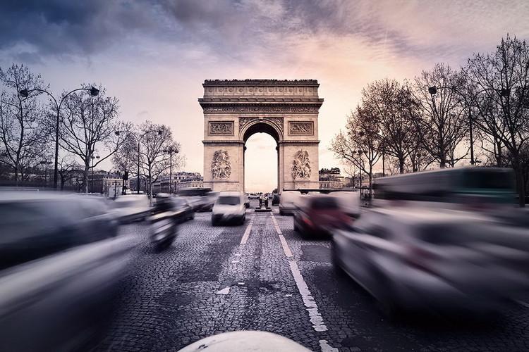 Skleněný Obraz Paříž - Vítězný oblouk při západu slunce, (90 x 60 cm)