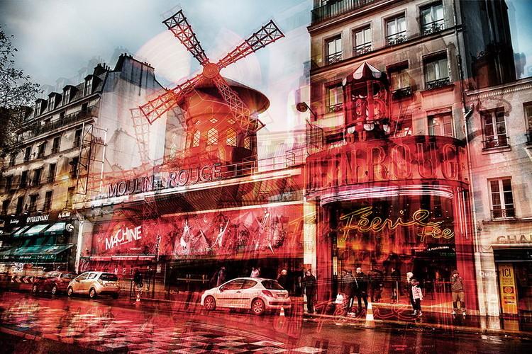 Skleněný Obraz Paříž - Moulin Rouge, (120 x 80 cm)