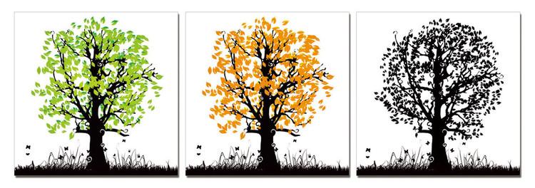 Obraz na zeď - Kreslené stromy - barevné, (180 x 60 cm)