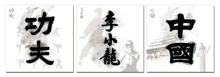Obraz na zeď - Čínské znaky - Kung Fu, Bruce Lee, Čína, (180 x 60 cm)