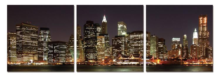 Obraz New York - Manhattan v noci, (120 x 40 cm)