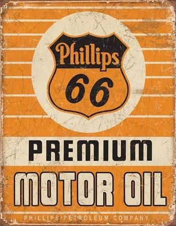 Plechová cedule Phillips 66 - Premium Oil, (31.5 x 40 cm)