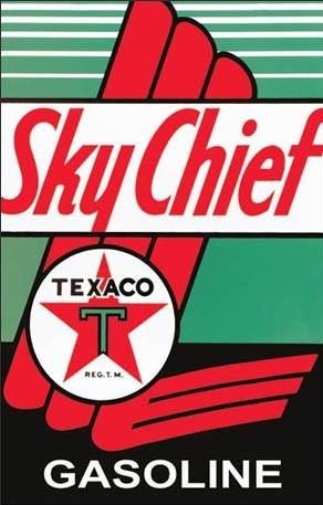 Plechová cedule Texaco - Sky Chief, (31.5 x 40 cm)
