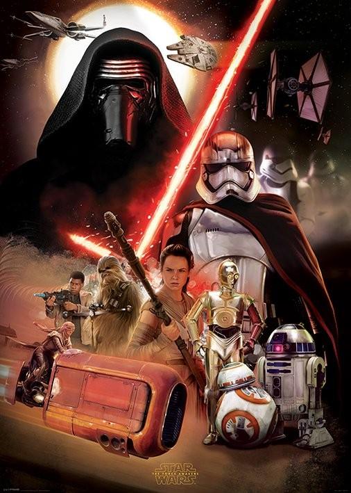 Plakát, Obraz - Star Wars VII: Síla se probouzí - Montage, (100 x 140 cm)