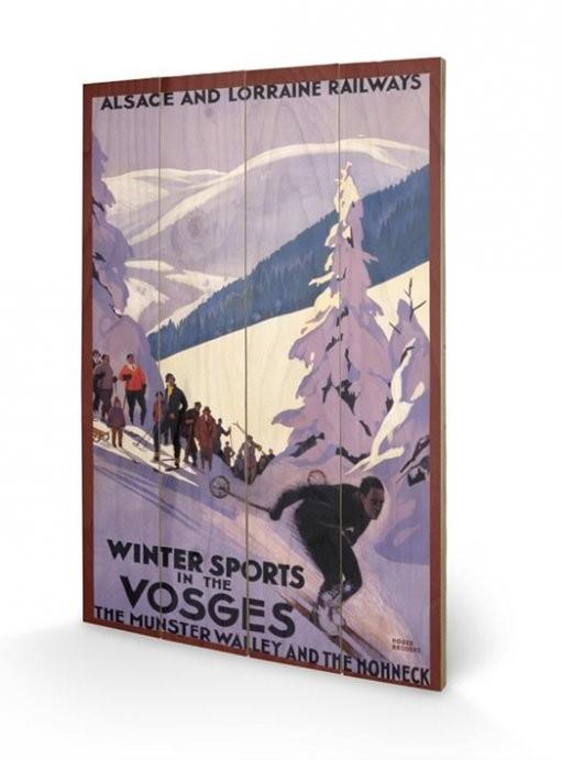 Dřevěný obraz Winter Sports In The Vosges, (40 x 59 cm)