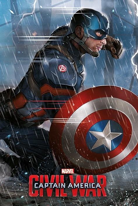 Plakát, Obraz - Captain America: Občanská válka - Captain America, (61 x 91,5 cm)