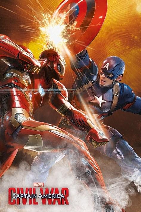 Plakát, Obraz - Captain America: Občanská válka - Fight, (61 x 91,5 cm)