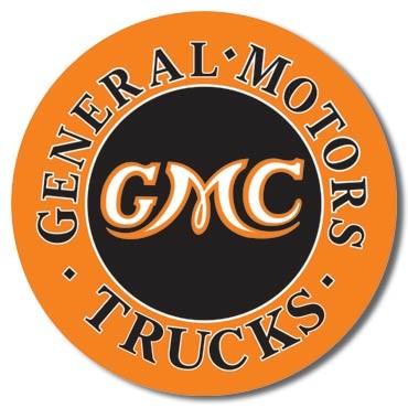 Plechová cedule GMC Trucks Round, (30 x 42 cm)