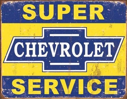 Plechová cedule Super Chevy Service, (30 x 42 cm)