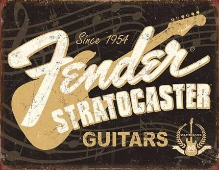 Plechová cedule Fender - Stratocaster 60th, (30 x 42 cm)