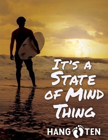 Plechová cedule Hang Ten - State of Mind, (30 x 42 cm)