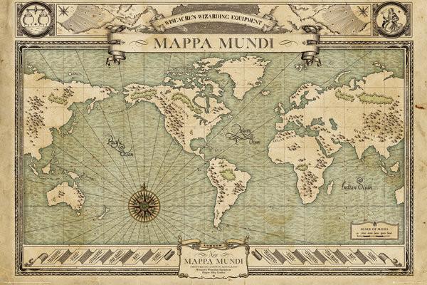 Plakát, Obraz - Fantastická zvířata a kde je najít - Map, (91,5 x 61 cm)