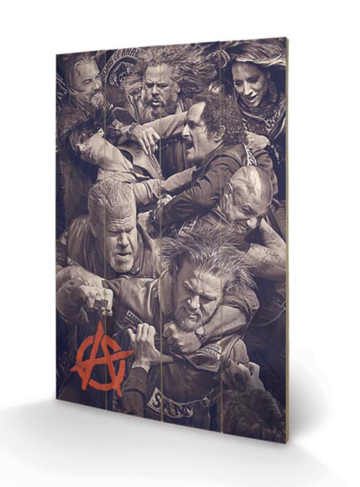 Dřevěný obraz Sons of Anarchy (Zákon gangu) - Fight, (40 x 59 cm)