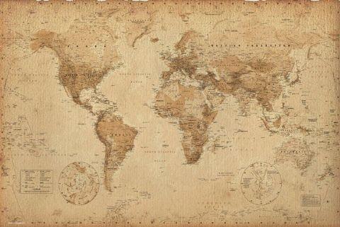 Plakát, Obraz - Mapa světa - starý styl, (91,5 x 61 cm)