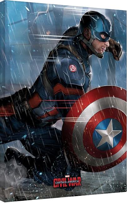 Obraz na plátně Captain America: Občanská válka - Captain America, (60 x 80 cm)