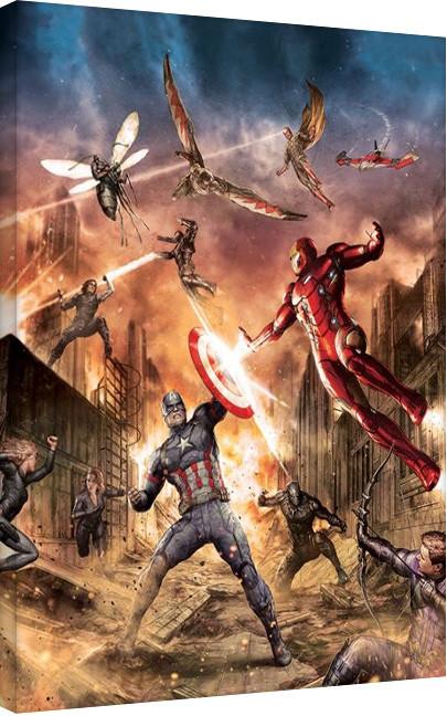 Obraz na plátně Captain America: Občanská válka - Group Fight, (60 x 80 cm)