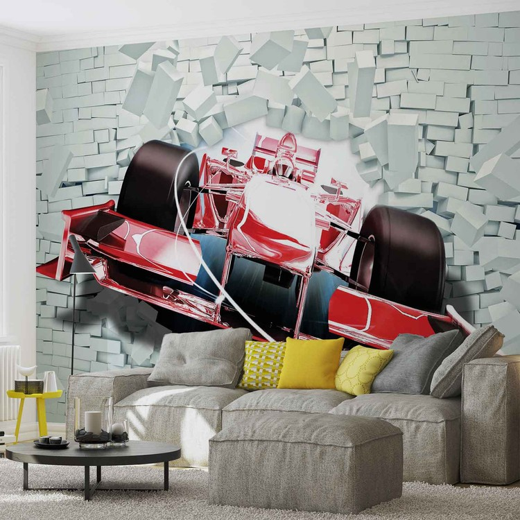 mur de brique formule 1 voiture de course poster mural. Black Bedroom Furniture Sets. Home Design Ideas