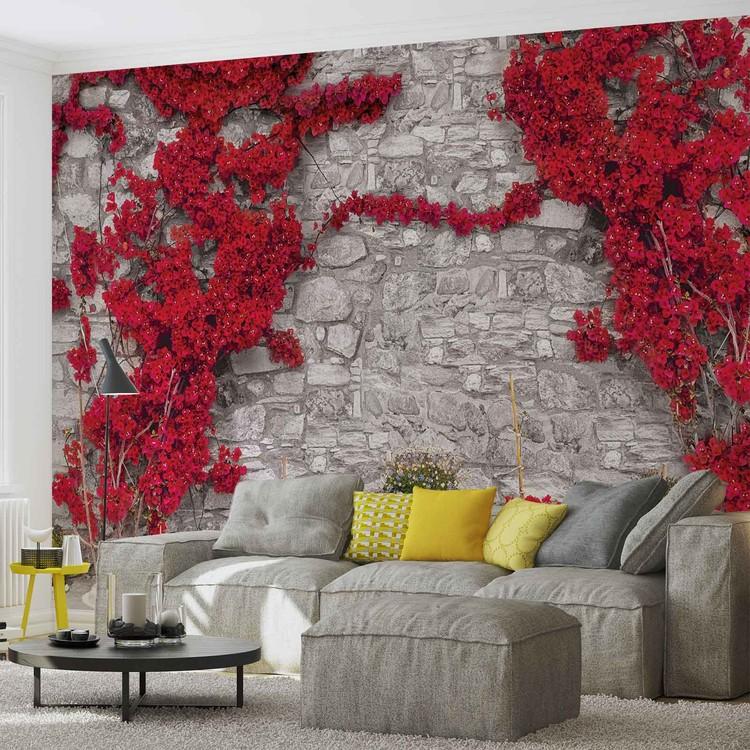 Mur de pierre aux fleurs rouges poster mural papier peint for Poster mural xxl fleurs