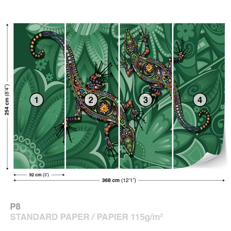 Fleurs l zard couleurs abstraites poster mural papier for Poster mural xxl fleurs