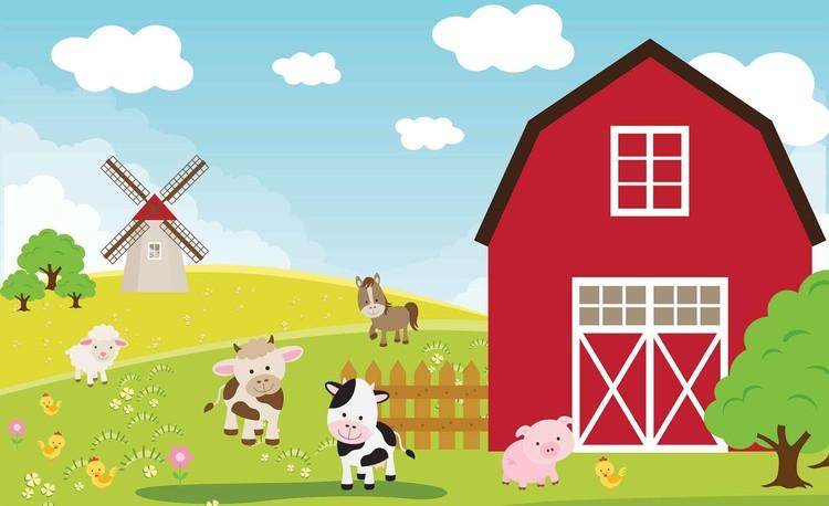 Fototapeta, Tapeta Kreslená farma do dětského pokoje, (254 x 184 cm) 254x184 cm - 115g/m2 Paper
