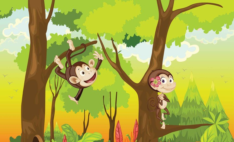Fototapeta, Tapeta Kreslené opičky do dětského pokoje, (368 x 254 cm) 368x254 cm - 115g/m2 Paper