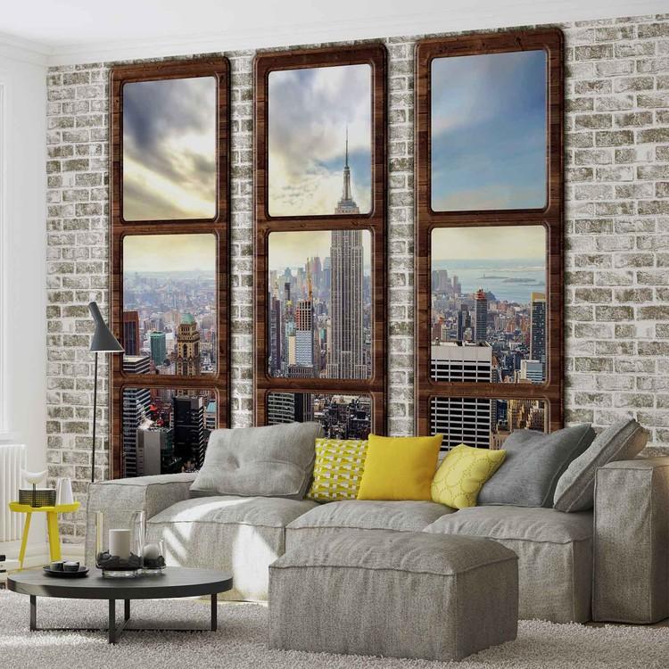 Fototapete fensterblick skyline  Fototapete, Tapete New York City Skyline Fenster Ausblick bei ...