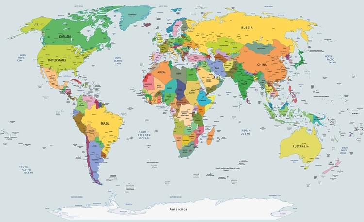Fototapeta, Tapeta Mapa světa, (368 x 254 cm)