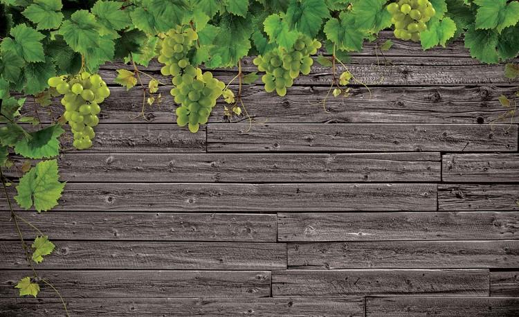Fototapeta, Tapeta Dřevený plot, hrozno, (368 x 254 cm) 368x254 cm - 115g/m2 Paper