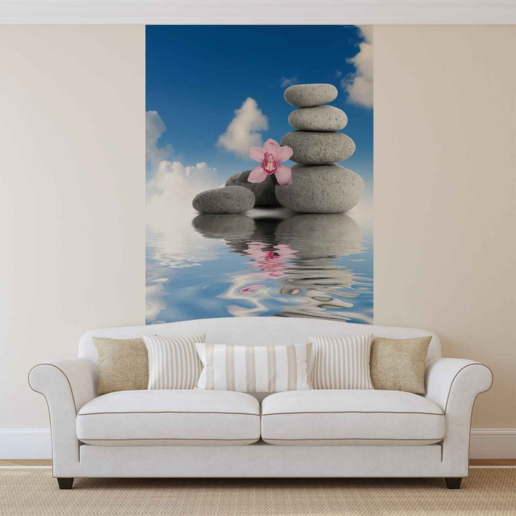 eau zen cailloux orchid es ciel poster mural papier peint. Black Bedroom Furniture Sets. Home Design Ideas